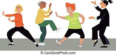 Tai Chi for women - Diverse group of mature women doing tai...