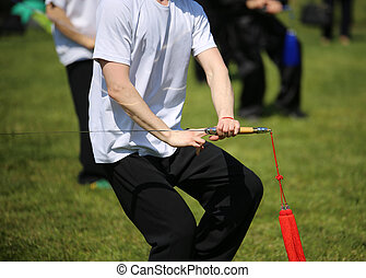 tai chi, harcművészetek, atléta, készítmény, mozgások, noha, kard