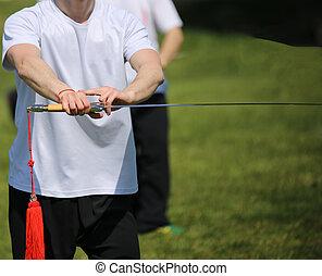 tai chi, harcművészetek, atléta, szakértő, készítmény, mozgások, noha, kard