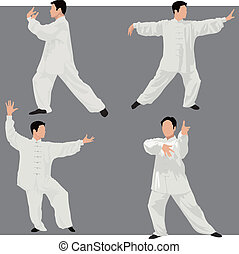 Tai-chi vector - Four forms of Tai-chi. Color vector...