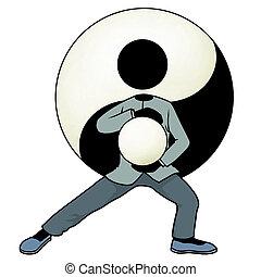 Silhouette-man kungfu action icon - tai chi