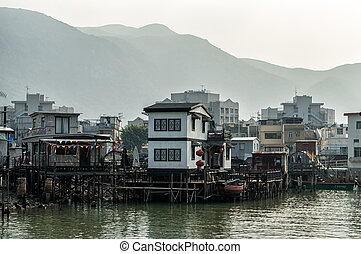 Tai O fishing village stilt houses in Hong Kong - Hong Kong,...