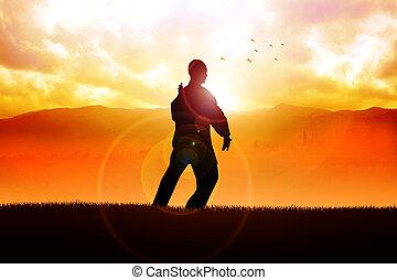 Taichi Chuan - Silhouette illustration of a man figure doing...
