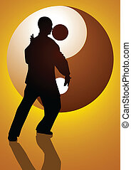 Taichi Master - Silhouette illustration of a man figure...