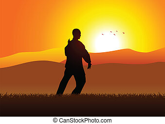 Taichi - Silhouette illustration of a man figure doing...