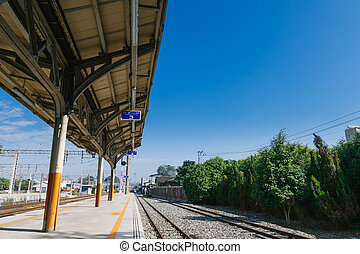 Taichung, Taiwan - Dec 24, 2016:  Taichung Station, a railway station from taichung to Alishan on the Taiwan Railway on a sunny day