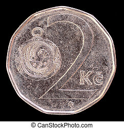 Tail of 2 crowns coin, issued by Czech Republic in 2009 depicting a Great Moravian button-jewel