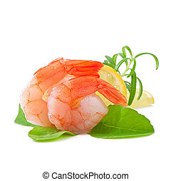 tail of shrimp on the white