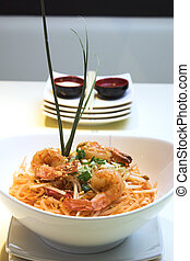 tailandés, almohadilla, camarón