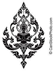 tailandés, artes, ángel, vector, patrón