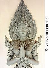 tailandés, escultura, ángel