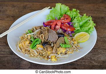 tailandés, estilo, bata frito, tallarín arroz