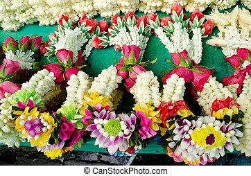 tailandés, estilo, guirnalda, en, mercado de flor, en,...