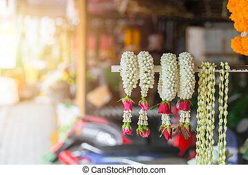 tailandés, estilo, jazmín, guirnalda, venda, en, tailandia