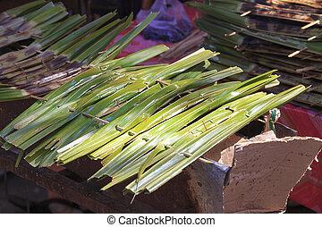 tailandés, estilo, parrilla, en, hoja del plátano, en, el, mercado