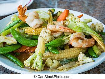 tailandés, frito, conmoción, alimento, vegetales