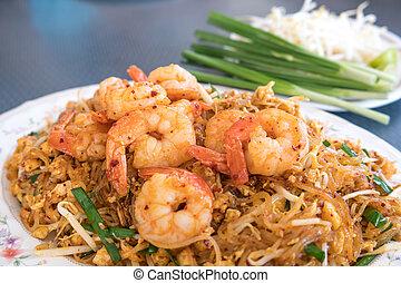 tailandés, frito, tallarines, con, camarón