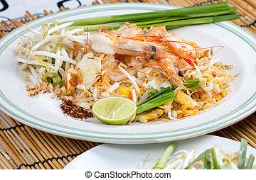 tailandés, frito, tallarines