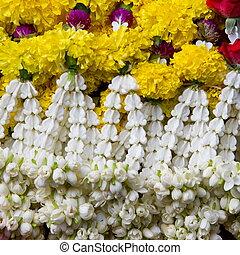 tailandés, guirnalda flor, en, mercado