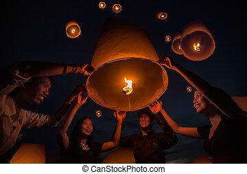 tailandés, lámpara, flotar, gente