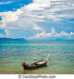 tailandés, largo, barco