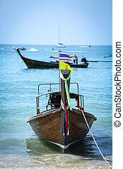 tailandés, largo, barco, tailed