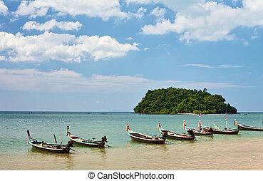 tailandés, largo, barcos