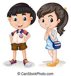 tailandés, niño y niña, sonriente