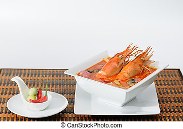 tailandés, popular, alimento, tom-yum-kung