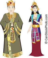 tailandés, rey, y, reina