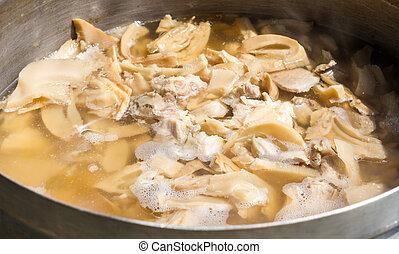 tailandés, sopa, suave, brotes de bambú, con, cerdo