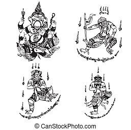 tailandés, tatuaje, antiguo, vector