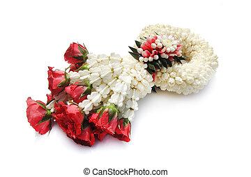 tailandés, treditional, estilo, guirnalda, flor, en, fondo blanco