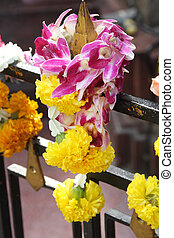 tailandés, treditional, estilo, guirnalda, flor, en, hindú, santuario