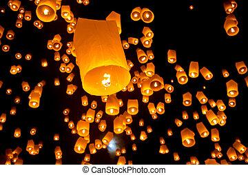 tailandés, vuelo, cielo, linterna
