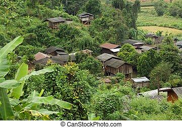 tailandês, étnico, vila