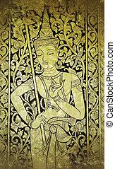 tailandês, anjo, quadro, ligado, igreja, parede