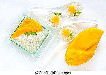 tailandês, arroz, dessert., pegajoso, manga
