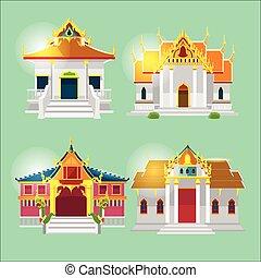 tailandês, asiático, templo, cobrança, jogo, vetorial