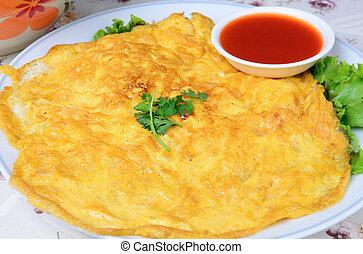 tailandês, estilo, omelete