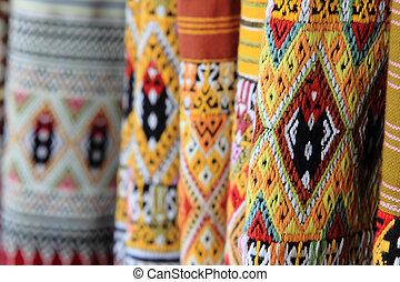 tailandês, estilo, padrão, ligado, tailandês, pano