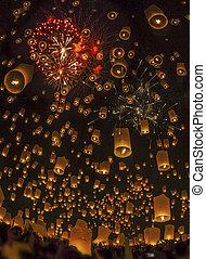 tailandês, lâmpada, flutuante, pessoas