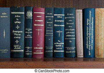 tailandês, livro lei, prateleira
