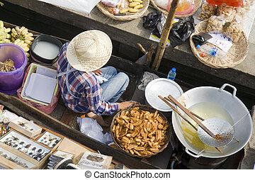 tailandês, mercado flutuante