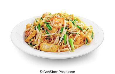 tailandês, noodles, almofada, estilo