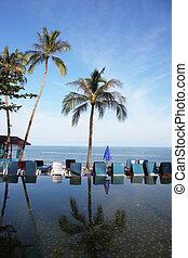 tailandês, praia, piscina, golfo