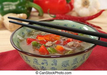 tailandês, sopa