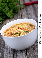 tailandês, temperado, camarão, noodle