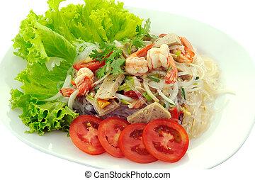 tailandês, temperado, salada frutos mar