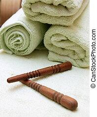 tailandês, toalha, varas, massagem